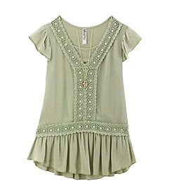 Beautees Girls' 7-16 Short Sleeve High-Low Top With Necklace