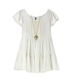 Beautees Girls' 7-16 Tiered Lace Trim Top With Necklace