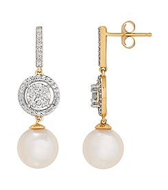 14K Yellow Gold Cultured Freshwater Pearl Earring with 0.50 ct. t.w. Diamond Accents