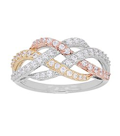 Sterling Silver Polished Cubic Zirconia Tricolor Woven Strand Ring