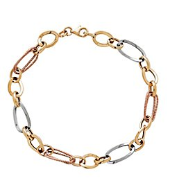 10K Tri Tone Gold Polished Double Oval Multi Size Link Bracelet