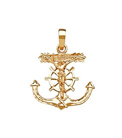 Men's 10K Yellow Gold Polished Diamond Cut Anchor and Wheel Crucifx Pendant