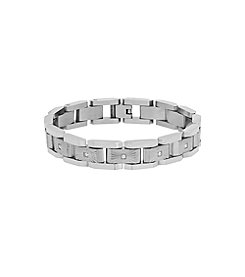 Men's Polished Stainless Steel with Cubic Zirconia Link Bracelet