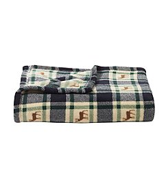Living Quarters Micro Cozy Plaid Deer Print Throw