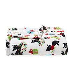 Living Quarters Micro Cozy Holiday Cat Printed Throw