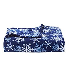 Living Quarters Micro Cozy Holiday Blue Snowflake Print Throw