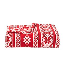 Living Quarters Micro Cozy Fair Isle Snowflake Print Throw