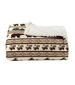 Living Quarters Brown Bear Print Velvet Sherpa Throw