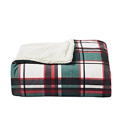 Living Quarters Tartan Plaid Print Velvet Sherpa Throw