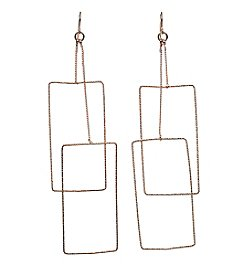 Relativity® Rose Goldtone Rectangle Drop Earrings