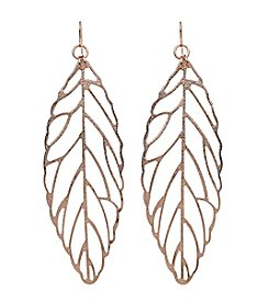 Relativity® Rose Goldtone Leaf Earrings