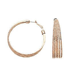 Relativity® Rose Goldtone Textured Multi Row Hoop Earrings