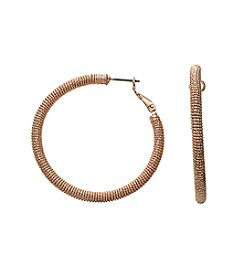 Relativity® Rose Goldtone Sparkly Hoop Earrings