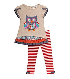 Rare Editions® Girls' 2T-4T Owl Top And Leggings Set