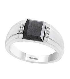 Effy® Men's Sterling Silver Hematite and Diamond Ring