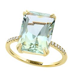 Effy® 14K Yellow Gold Green Amethyst And Diamond Ring