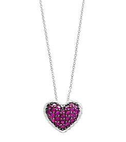 Effy® Sterling Silver Ruby Heart Pendant Necklace