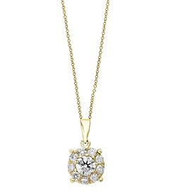 Effy® 14K Yellow Gold Diamond Cluster Pendant Necklace