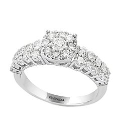 Effy® 1.10 ct. t.w. 14K White Gold Diamond Cluster Ring