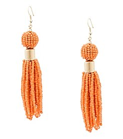 Robert Rose Seed Bead Ball Tassel Earrings