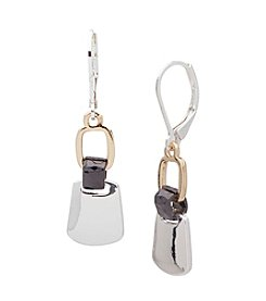 Nine West® Tri Tone Double Drop Earrings