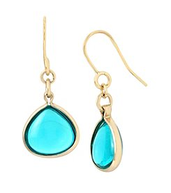 Kenneth Cole® Goldtone Teal Stone Drop Earrings