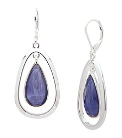 Anne Klein® Silvertone Purple Teardrop Drop Earrings