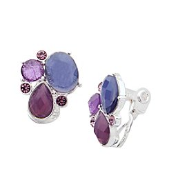 Anne Klein® Silvertone Purple Clip Earrings