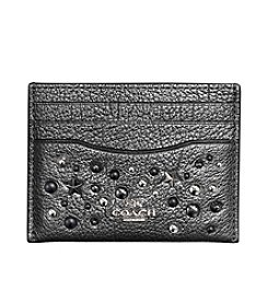 COACH FLAT CARD CASE IN METALLIC LEATHER WITH STAR RIVETS
