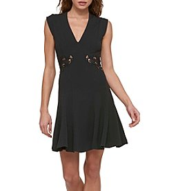 GUESS Scuba Crepe With Side Lace Cutout Dress