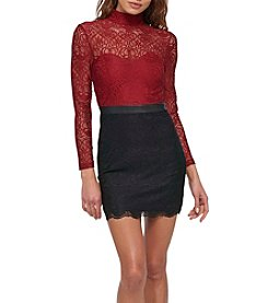 GUESS Mock Neck Colorblock Lace Dress