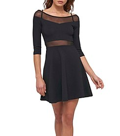 GUESS Off Shoulder Illusion Cutout Dress