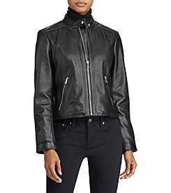 Lauren Ralph Lauren® Stand Collar Leather Jacket