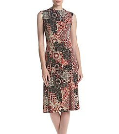 Connected® Printed HIgh Neck Midi Dress