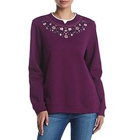 Breckenridge® Crewneck Embellished Fleece Sweater