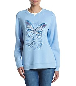 Breckenridge® Crew Neck Embellish Fleece Sweater