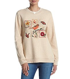 Breckenridge® Crew Neck Embellished Fleece Sweater