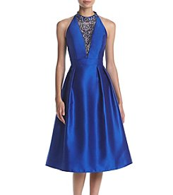 Adrianna Papell Jewel Detail Fit And Flare Dress