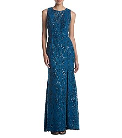 Adrianna Papell Sky Sequin Scroll Dress