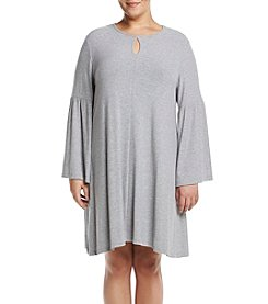 Chelsea & Theodore Plus Size Keyhole Bell Sleeve Dress
