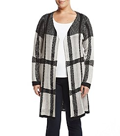Oneworld Plus Size Plaid Pattern Sweater