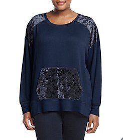 Bobeau® Plus Size Crushed Velvet Sweatshirt