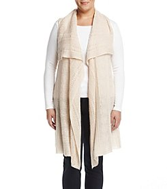 Cupio Plus Size Drapey Mixed Stitch Vest
