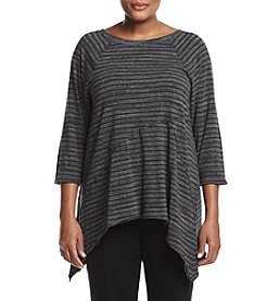 Calvin Klein Performance Plus Size Striped Seamed Tee