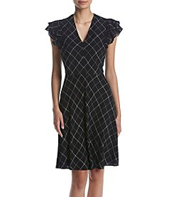 Ivanka Trump® Plaid Flutter V-Neck Dress