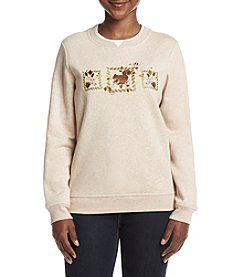 Breckenridge® Petites' Crew Neck Embellish Fleece Sweater