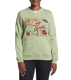 Breckenridge® Petites' Crew Neck Embellished Fleece Sweater