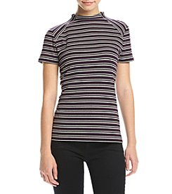 Kensie® Striped Rib C/S Tee