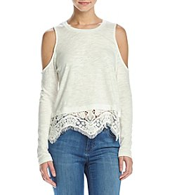Hippie Laundry Crochet Trim Cold Shoulder Top