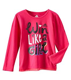adidas® Girls' 2T-6X Long Sleeve Win Like A Girl Crisscross Tee